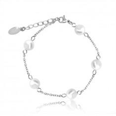 Bracciale in acciaio colore argento, palline perlacei sulla catena