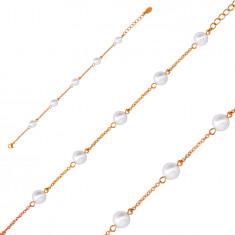 Bracciale in acciaio colore rame, palline bianco perlaceo, catena