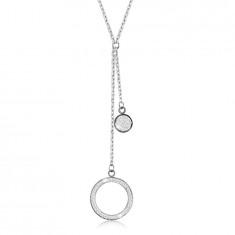 Collana in acciaio - grande contorno anello con cristalli, anello piano, ciondoli in colore argento