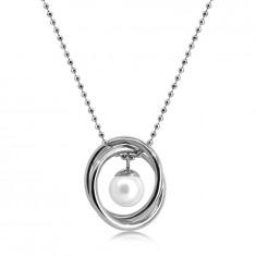 Collana in acciaio colore argento - catena a pallina, due anelli incrociati, pallina perlacea