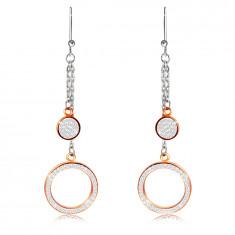 Orecchini pendenti in acciaio - anello e cerchio ornati con pietre chiari, colore dorato, ganci afro