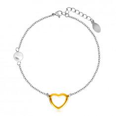 Bracciale in acciaio con pallina perlacea, contorno cuore in colore dorato
