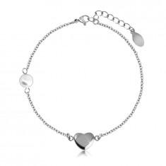 Bracciale in acciaio - cuore brillante e liscio in colore argento, pallina perlacea, catena fina