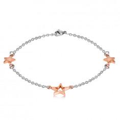 Bracciale in acciaio - tre stelle in colore rame, catena sottile