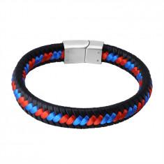 Bracciale in pelle nera - corde intrecciati rosso e blu, chiusura a tappo