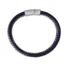 Bracciale in pelle nera - corde intrecciate marrone e blu, chiusura a tappo