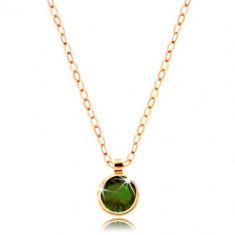 Collana in oro 585 - zircone rotondo verde - oliva, catena brillante a maglie ovali