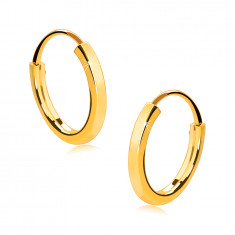 Orecchini piccoli in oro giallo 14K - lati sottili quadrati, superficie brillante, 10 mm