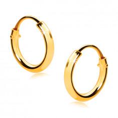 Orecchini, da bimbi, in oro giallo 585 - piccoli cerchi, lati brillanti arrotondati, 10 mm
