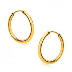 Orecchini in oro 14K cerchi, lati rotondi, superficie liscia e molto brillante, 14 mm