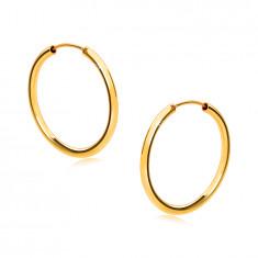 Orecchini rotondi in oro 14K - lati rotondi, superficie brillante e liscia, 18 mm
