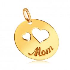 """Ciondolo piatto in oro 585 - ritagli di due cuori, scritta incisa """"Mom"""", cerchio brillante"""
