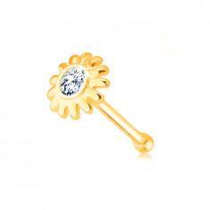 Piercing al naso, con diamante, in oro giallo 585 - fiore con diamante chiaro