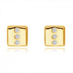 Orecchini in oro giallo 14K con diamante - rettangolo con tre diamanti rotondi, chiusura a bottone