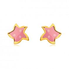 Orecchini in oro giallo 585 - stella a cinque punte, smalto rosa con tre punti