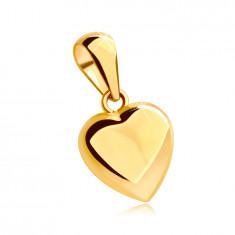 Ciondolo in oro giallo 14K - cuore pieno con superficie brillante e leggermente convessa