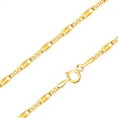 Catena realizzata in oro giallo 14K - maglie ovali e oblunghe, rettangoli, 440 mm