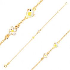 Bracciale in oro giallo 9K - pulcino in smalto, fiore con smalto bianco