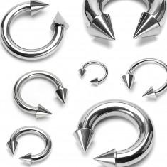 Piercing in acciaio inox colore argento - ferro di cavallo che finisce con punte