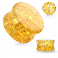Plug all'orecchio, a forma di sella in vetro con bordi arrotondati, colore miele, effetto spezzato