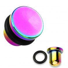 Plug all'orecchio in acciaio 316L e titanio nel colore dell'arcobaleno, banda in caucciù nero, diversi spessori