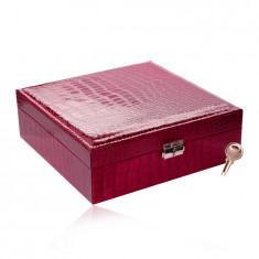 Confezione regalo, a forma rettangolare ed in colore rosa scuro - similpelle di coccodrillo, fibbia e chiave