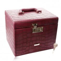 Confezione regalo, per gioiello, in colore rosso di borgogna, modello coccodrillo, dettagli in metallo colore argento