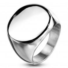 Anello in acciaio inox, cerchio piatto e brillante, colore argento