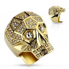 Anello massiccio in acciaio 316L, cranio colore dorato, cristalli chiari