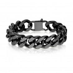 Bracciale in acciaio - maglie ovali larghe unite in serie, superficie nera opaca, 16 mm
