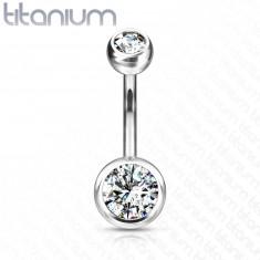 Piercing all'ombelico in titanio - due zirconi rotondi e chiari, 10 mm