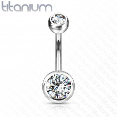 Piercing in titanio, all'ombelico - due zirconi chiari, rotondi, 11 mm