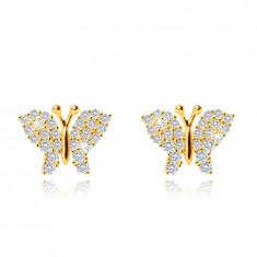 Orecchini in oro giallo 9K, farfalla, ali decorati con zirconi chiari, chiusura bottone
