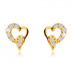 Orecchini asimmetrici in oro giallo 9K, cuore con lacrima, zirconi chiari, a bottone