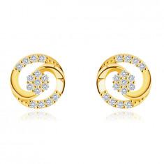 Orecchini in oro 9K - contorno cerchio formato con due lacrime unite, zirconi