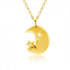 Collana in oro giallo 9K - luna con occhio in zircone chiaro, stella