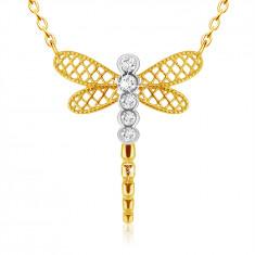 Ciondolo in oro combinato 9K - libellula con ali in lattice, zirconi chiari