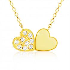 Collana in oro giallo 9K, piccoli cuori uniti, zirconi chiari