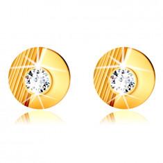 Orecchini in oro 9K - cerchio con intagli, mezzo cerchio liscio, zircone rotondo incastonato, a bottone