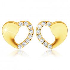 Orecchini in oro giallo 375 - cuore simmetrico con ritaglio, zirconi chiari, rotondi