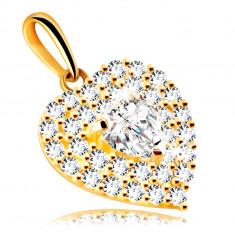 Ciondolo in oro 9K - cuore ornato con zirconi brillanti, con un cuore in zircone
