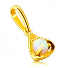 Ciondolo in oro 9K - contorno a triangolo con opale sintetico rotondo