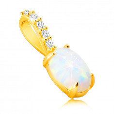 Ciondolo realizzato in oro 9K - opale sintetico a forma ovale con riflessioni dell'arcobaleno, piccoli zirconi brillanti