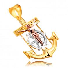 Ciondolo in oro combinato 9K - ancora di nave con Gesù sulla croce