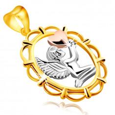 Ciondolo in oro combinato 9K - angelo che prega con cuore nelle mani, in quadro ovale