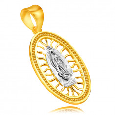 Ciondolo in oro combinato 375 - medaglione con Vergine Maria con mani unite