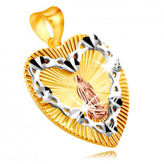 Ciondolo in oro combinato 375 - simbolo cuore, contorno cuore con Vergine Maria
