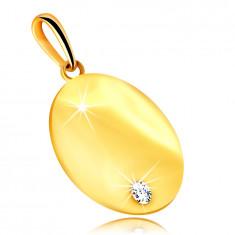 Ciondolo in oro giallo 375 - targhetta rotonda piatta, zircone chiaro brillante