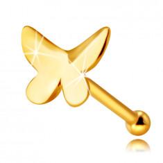 Piercing al naso, in oro 9K - farfalla con superficie piatta e ali leggermente curve