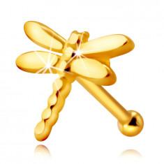 Piercing al naso, in oro 375 - libellula con ali lunghi, brillanti